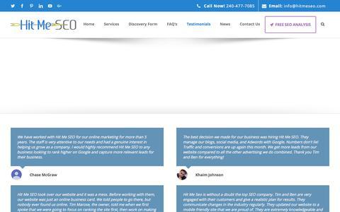 Screenshot of Testimonials Page hitmeseo.com - Hit Me SEO Client Testimonials Reviews - captured July 20, 2018