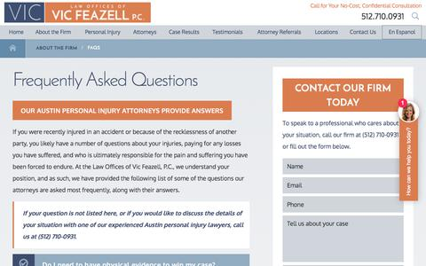 Screenshot of FAQ Page withviclegal.com - FAQs   Austin Personal Injury Lawyers - captured July 20, 2017