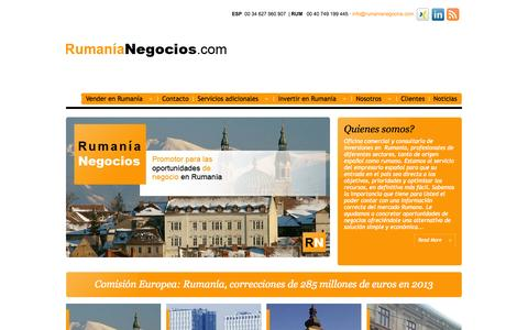 Screenshot of Home Page rumanianegocios.com - Rumania Negocios - captured Oct. 7, 2014
