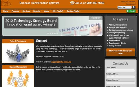 Screenshot of Support Page firefly-online.net - Support - Firefly OnlineFirefly Online - captured Oct. 6, 2014