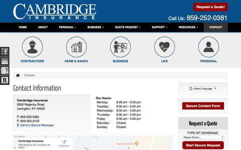 Screenshot of Contact Page cambridgeinsurance.net - Contact Information for Cambridge Insurance in Lexington Kentucky - captured Oct. 19, 2019