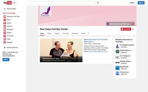Screenshot of YouTube Page youtube.com - New Hope Fertility Center  - YouTube - captured Oct. 26, 2014