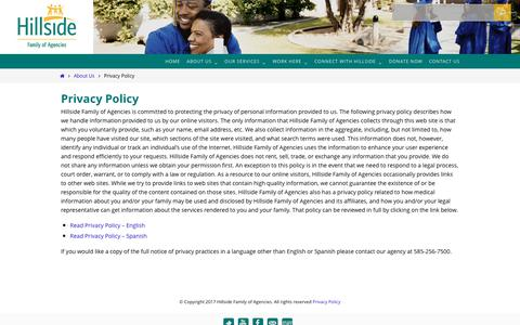 Screenshot of Privacy Page hillside.com - Privacy Policy - Hillside Family of Agencies - captured Aug. 12, 2017