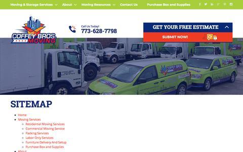 Screenshot of Site Map Page coffeybrosmoving.com - Sitemap - Coffey Bros. Moving - captured July 20, 2018