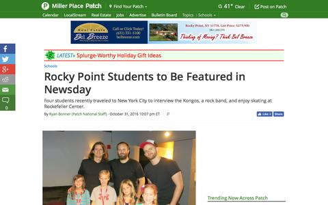 Screenshot of patch.com - Rocky Point Students to Be Featured in Newsday - Miller Place, NY Patch - captured Nov. 1, 2016