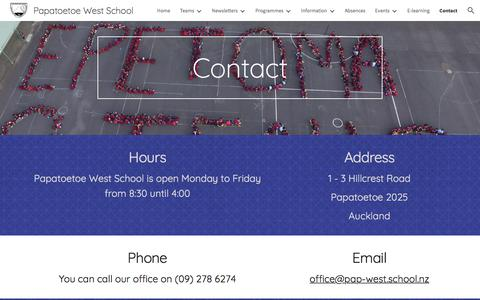 Screenshot of Contact Page google.com - Papatoetoe West School - Contact - captured March 6, 2018
