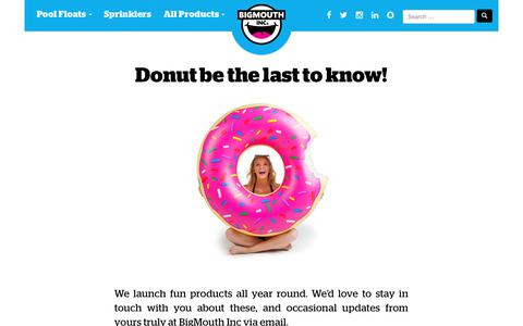 Screenshot of Signup Page bigmouthinc.com - Donut be the last to know! Join the BigMouth Inc. newsletter here. - captured Aug. 2, 2018