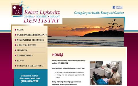 Screenshot of Hours Page lipkowitzdental.com - Robert Lipkowitz, DDS, Lipkowitz Dental Associates | Dentist, Cosmetic Dentistry, Implants  | Magnolia, MA, Gloucester, MA - captured June 23, 2016