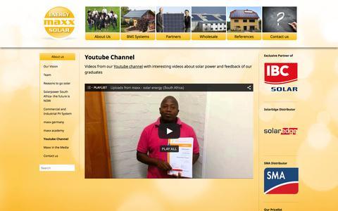 Screenshot of Testimonials Page maxx-solar-energy.co.za - Youtube Channel | maxx - solar & energy - captured Feb. 12, 2016