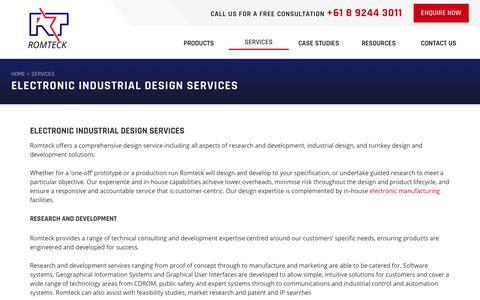 Screenshot of Services Page romteck.com - Electronic Design, R&D, Turnkey Design Solutions | Romteck - captured Nov. 5, 2017