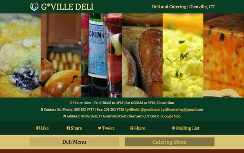 Screenshot of Home Page gvilledeli.com - GVille Deli | 17 Glenville Street  Greenwich, CT | Breakfast, Specialty Sandwiches, Grill, Burgers, Salads and Soup - captured Sept. 3, 2015