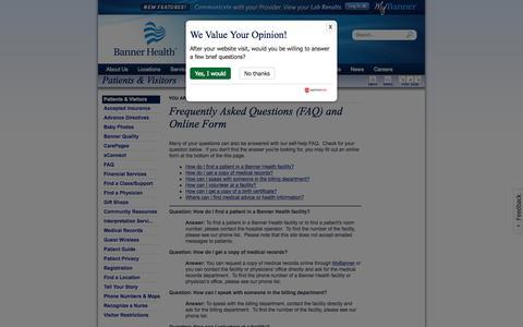 Screenshot of FAQ Page bannerhealth.com - FAQ - captured Oct. 29, 2015
