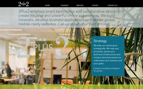 Screenshot of Home Page 2plus2.com - 2Plus2 provides strategic consulting, information design and web-based application development. - captured Sept. 5, 2015
