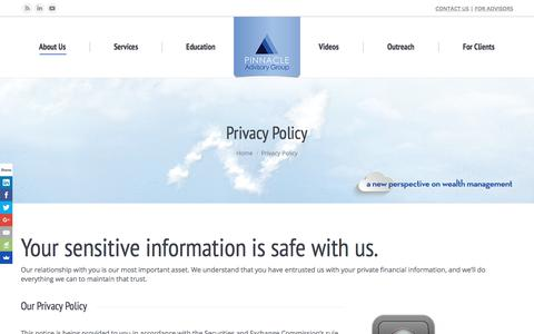 Screenshot of Privacy Page pinnacleadvisory.com - Privacy Policy - Pinnacle Advisory Group - The Wealth Management Advisors - captured Aug. 3, 2017