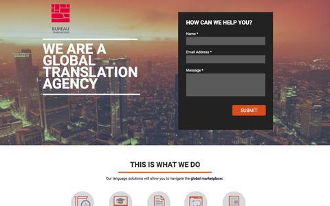 Screenshot of Landing Page bureautranslations.com - Bureau Translations Agency - captured Oct. 17, 2016