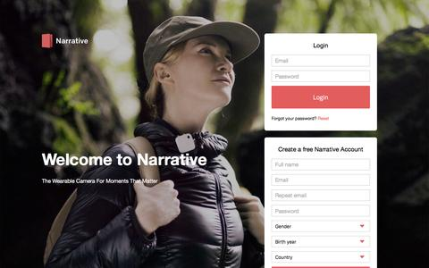 Screenshot of Login Page narrativeapp.com - Narrative - captured June 16, 2016