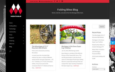 Screenshot of Blog montaguebikes.com - Folding Bike Blog | Montague Bikes - captured Feb. 14, 2016