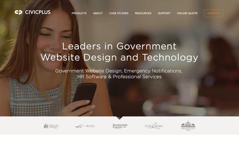 Screenshot of Home Page civicplus.com - Government Website Design | CivicPlus - captured Sept. 23, 2016