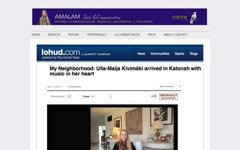 Screenshot of Press Page amalam.com - Interviews of Ullamaya Ma aka Ulla-Maija Kivimaki - Amalam Arts & Communication - captured Feb. 6, 2016