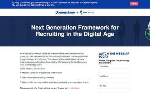 Screenshot of Landing Page cornerstoneondemand.com - CSOD | Next Generation Framework for Recruiting in the Digital Age - captured Oct. 22, 2019