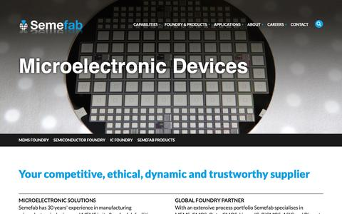 Screenshot of Products Page semefab.com - Microelectronic Devices | Semiconductor Devices | Semefab - captured Oct. 18, 2018