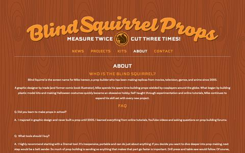 Screenshot of About Page blindsquirrelprops.com - About — Blind Squirrel Props - captured Oct. 25, 2018