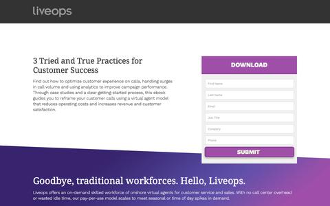 Screenshot of Landing Page liveops.com - LiveOps, Inc. | Call Center Services | Virtual Customer Service and Contact Center BPO - captured July 11, 2017