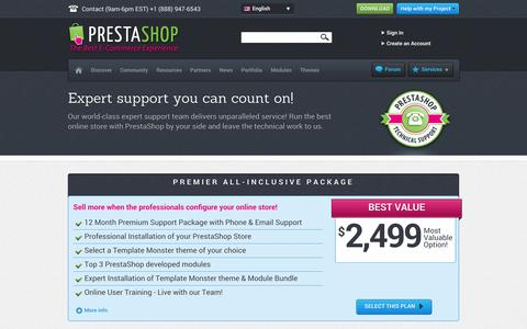 Screenshot of Support Page prestashop.com - PrestaShop Technical Support - e-commerce help you can count on! - captured Dec. 17, 2014