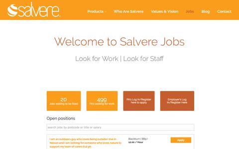 Screenshot of Jobs Page salvere.co.uk - Jobs - Salvere - captured Nov. 22, 2018