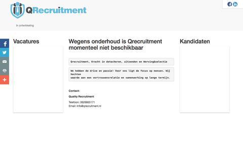 Screenshot of Home Page qrecruitment.nl - Home » QReqruitment - captured Oct. 3, 2014