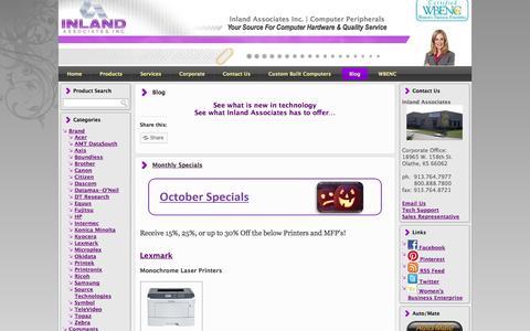 Screenshot of Blog inlandassoc.com - Authorized distributor of Genicom, Tally, Printek, Fujitsu, Lexmark,  Printronix, Oki, OkiData printers... - captured Oct. 6, 2014