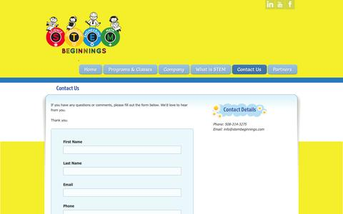 Screenshot of Contact Page stembeginnings.com - Contact Us » STEM Beginnings - captured Sept. 30, 2014