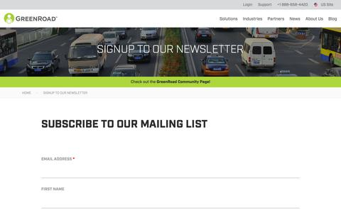 Screenshot of Signup Page greenroad.com - Signup to Our Newsletter - Greenroad - captured Feb. 11, 2019