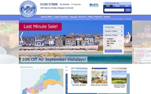 Screenshot of Home Page cornishcottageholidays.co.uk - Holiday Cottages in Cornwall with Cornish Cottage Holidays - captured Sept. 22, 2014