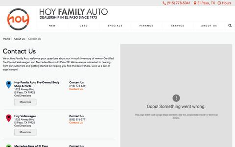 Screenshot of Contact Page Hours Page driveahoy.com - Contact Hoy Family Auto new & used car dealership in El Paso Texas - captured May 23, 2017
