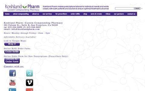 Screenshot of Contact Page Hours Page koshlandpharm.com - Contact Us - Koshland Pharm: Custom Compounding Pharmacy - captured Oct. 6, 2014
