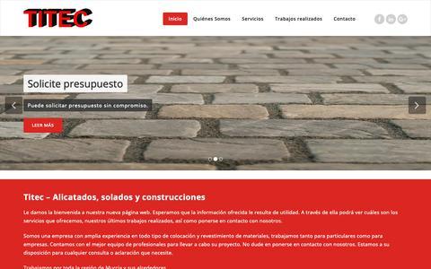 Screenshot of Home Page titec.es - TITEC - Alicatados Solados y Construcciones - captured Oct. 20, 2018