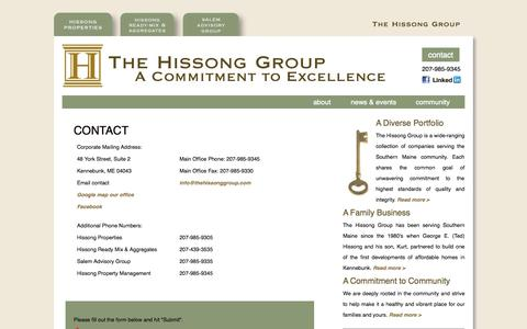Screenshot of Contact Page thehissonggroup.com - The Hissong Group: Contact Us - captured Sept. 30, 2014