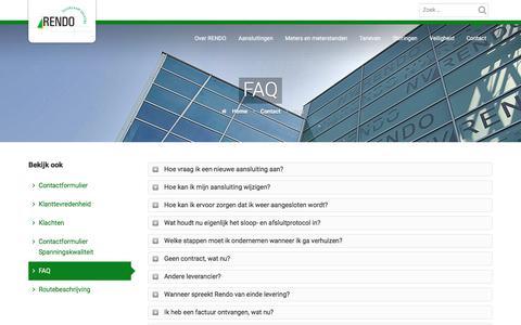 Screenshot of FAQ Page rendo.nl - FAQ - Rendo Netbeheer - captured Nov. 9, 2017