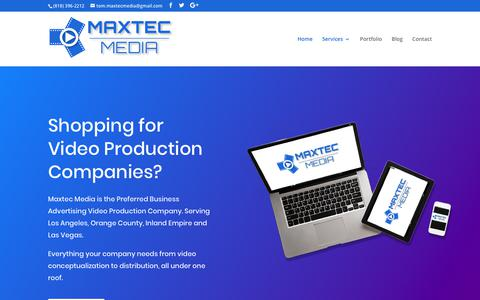 Screenshot of Home Page maxtecmedia.com - Maxtec Media - One of the Top Video Production Companies for Businesses - captured Sept. 20, 2018