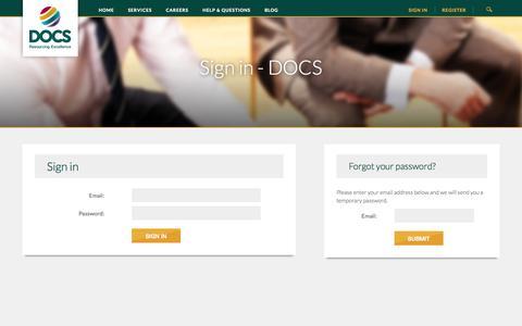 Screenshot of Login Page docsglobal.com - Sign in - DOCS - captured Oct. 2, 2014