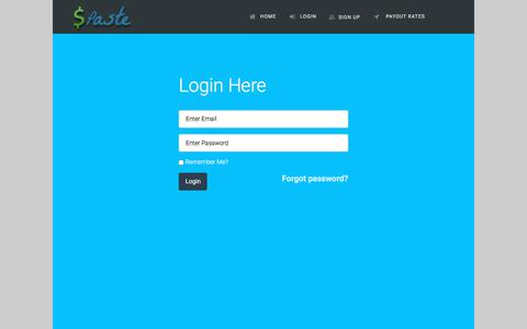Screenshot of Login Page spaste.com - Login | SPaste - captured Sept. 22, 2018
