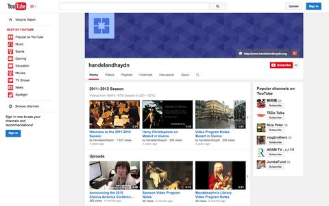 Screenshot of YouTube Page youtube.com - handelandhaydn  - YouTube - captured Oct. 22, 2014