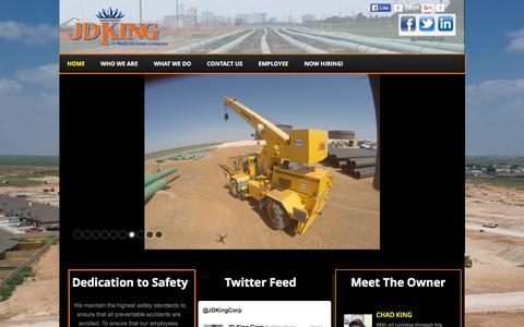 Screenshot of Home Page jdkingcorp.com captured Dec. 19, 2015