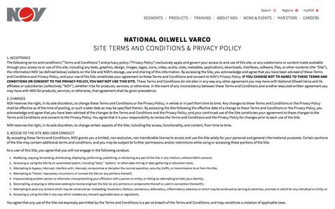 Screenshot of Privacy Page nov.com - National Oilwell Varco - captured Oct. 3, 2017