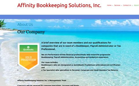 Screenshot of About Page affinitybookkeeping.ca - Affinity Bookkeeping Solutions, Inc. - About Us - captured Oct. 3, 2018
