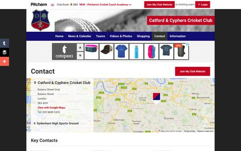 Screenshot of Contact Page pitchero.com - Contact - Catford & Cyphers Cricket Club - captured June 13, 2016
