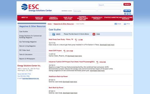 Screenshot of Case Studies Page escenter.org - Case Studies - captured Oct. 2, 2014