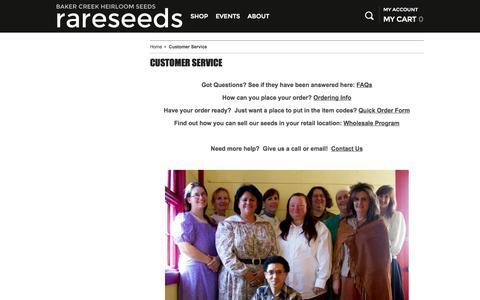 Screenshot of Support Page rareseeds.com - Customer Service | Baker Creek Heirloom Seed Co - captured Nov. 14, 2015