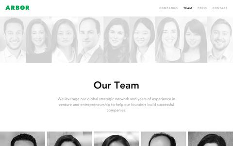 Screenshot of Team Page arborventures.com - Arbor Ventures | Meet the Team - captured Nov. 6, 2018